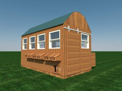 Poultry Chicken Coop Plans Diy Backyard Barn Hen House Cage With Run 8 X 16