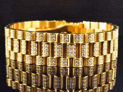 Mens 18k Yellow Gold Finish Stainless Steel Presidential Lab Diamond Bracelet 18 18k Yellow Gold Mens Bracelet