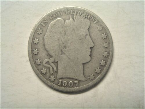 US 90% silver 1907-O (New Orleans mint) Barber half dollar