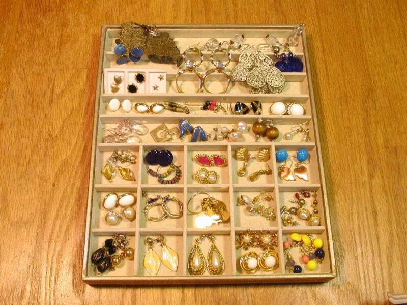 Vintage to Now Lot 55 Pairs Pair Hoop Huggie Post Dangle Pierced Earrings