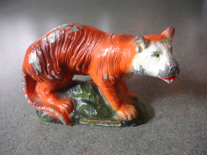 Old Vtg Antique Collectible Cast Metal Bengal Tiger Animal Statue Figurine