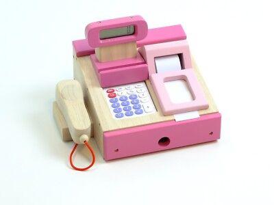 Spielkasse Taschenrechner pink Supermarkt Registrierkasse Scannerkasse Holzkasse (Taschenrechner Spielzeug)