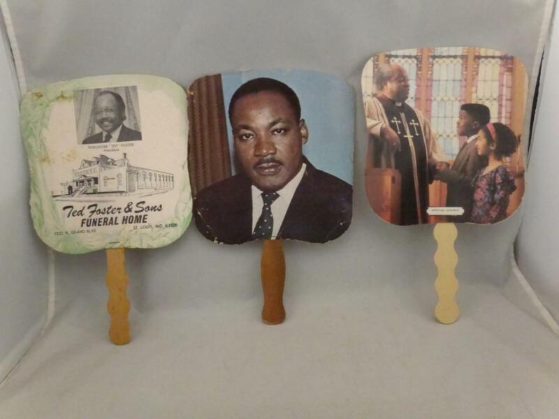 Martin Luther King - Lot of 3 Funeral Fans - Universal Life Insurance Ads 1960