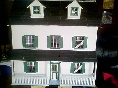 Colonial Dollhouse, Custom Made, Hand Built w/ Porch, Electricity for sale  USA