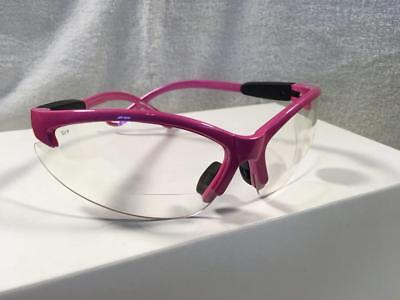 Hot Pink Cougar Bi-Focal +1.5, +2, +2.5 Safety Glasses Clear Lenses ANSI (Hot Pink Safety Glasses)