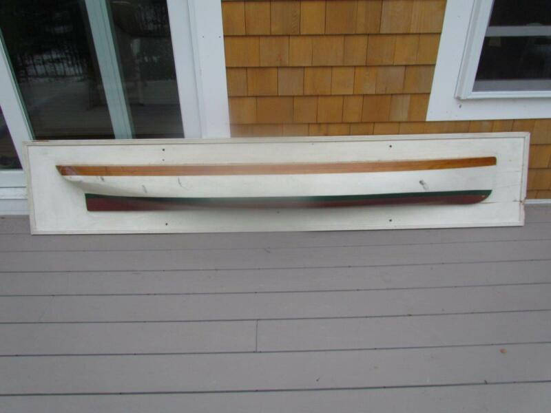 "VINTAGE 1960s LARGE AMERICAN HALF HULL SHIP MODEL, 96"" INCH LENGTH"