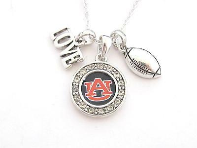 Auburn Tigers Multi Charm Love Football Navy Blue Silver Necklace Jewelry AU