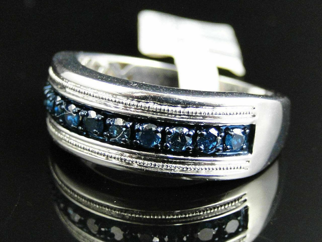 1 Ct Round Cut Blue Diamond Wedding Engagement Mens Band Ring 14K White Gold Fn 2