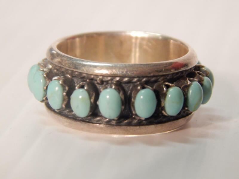 VINTAGE / ANTIQUE INDIAN STERLING SILVER TURQUOISE wide band style RING sz:6 3/4