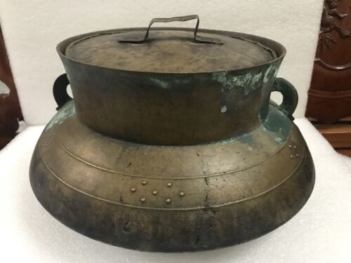 Large Antique Bronze Rice Cooker Cambodia With 2 Handle Rich Patina Heavy