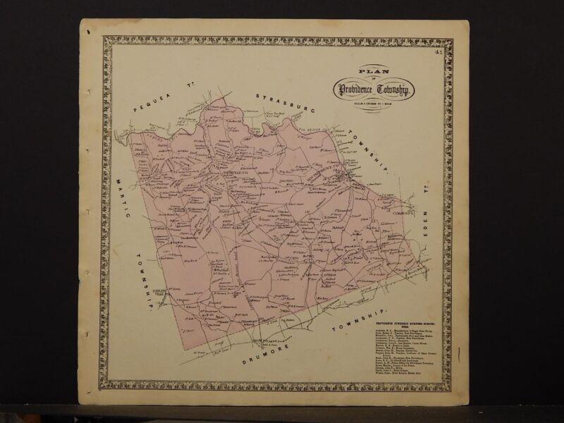 Pennsylvania Lancaster County Map 1864 Providence Township O5#74