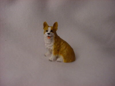 PEMBROKE WELSH CORGI Dog TiNY FIGURINE Hand Painted MINIATURE Resin Statue puppy