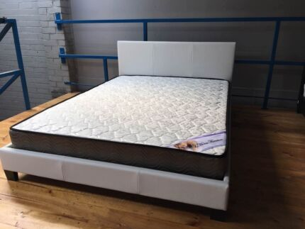 brand newpu leather bed frame and spring mattress