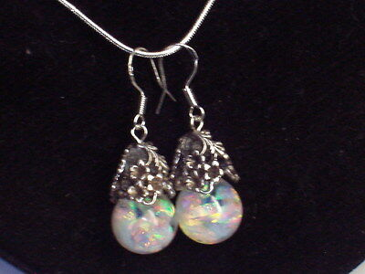 OPAL EARRINGS  BEAUTIFUL  FLOATING OPALS SNOW GLOBE SILVER EARRINGS