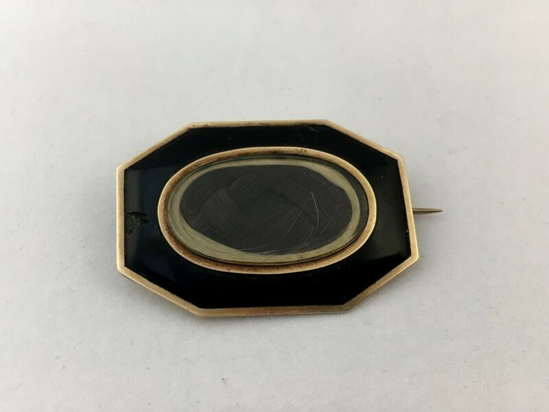 Antique Victorian Mourning Brooch Gold Black Enamel Pin Hair Brown Blonde