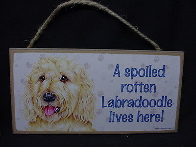 Used, BLOND LABRA DOODLE Spoiled Rotten DOG SIGN wood PLAQUE Yellow Labradoodle puppy for sale  Tignall