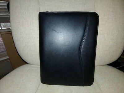 Day-timer Leather Planner Black 7 Ring Zipper Notebook Organizer 11x8x1.5