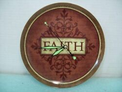 Ceramic 9.5 FAITH Plate Clock Recycled Hand Made Wall Clock Glow in the Dark M3