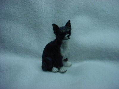 CHIHUAHUA black white puppy TiNY DOG Figurine HAND PAINTED MINIATURE Mini Statue