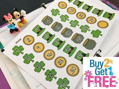 PP434 -- St Patrick's Day Countdown Planner Stickers for Erin Condren (35pcs)