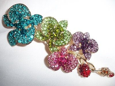 NEW Multi-Colored Crystal Orchid Flower Pendant /Brooch Pin - COMES IN GIFT BOX