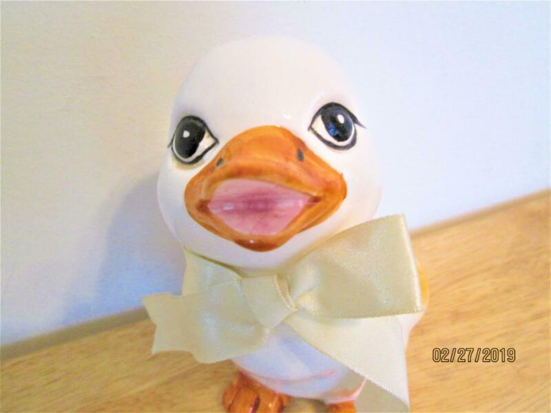 VINTAGE EASTER  DUCK WITH ANTHROPOMORPHIC EYES FIGURE