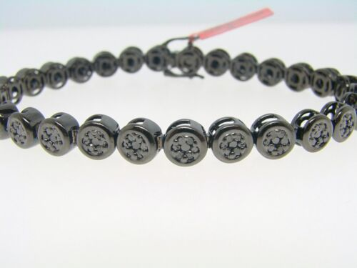 1 Row Mens Black On Black Cluster Diamond Bracelet 3 Ct
