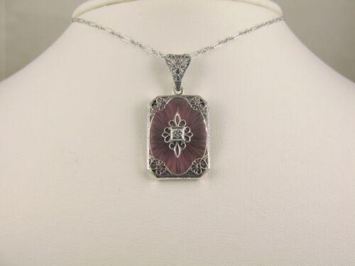 "Necklace Camphor Glass Amethyst Sun Ray w/Diamond Filigree Pendant 18""L"