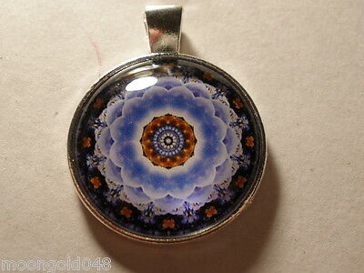 Photo Cabochon Mandala Glass Tibet Silver Chain Pendant Necklace