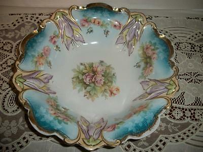 """R.S. Prussia Bowl 10 1/2"""" Roses Unmarked"""