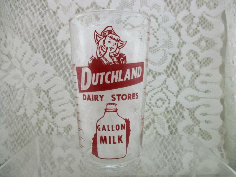 Vintage Drinking Advertising Glass~Dutchland Dairy~Measuring Chart