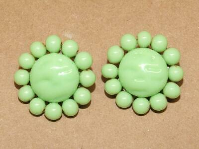 Vintage 60s Molded Pistachio Green Wired Art Glass Clip Earrings JAPAN 1 & 1/8