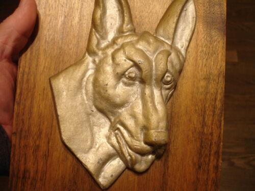 old antique vintage GREAT DANE dog face or GERMAN SHEPARD wall metal art plaque