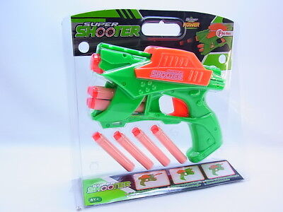 LOT 33081 Kinder Pistole Revolver Gun grün 8 Schaumstoff-Pfeile Blaster Dart NEU