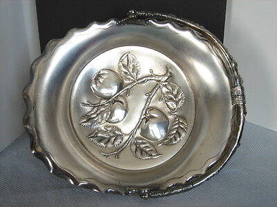Pairpoint Mfg Co. Brides Basket Swing Handle Quadruple Plate Silverplate Apples