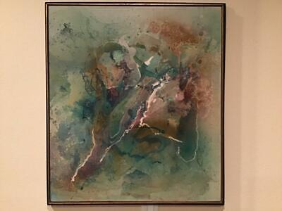 Original Vintage Large Abstract Oil Painting -London Royal Academy- B. Wiley - $449.99
