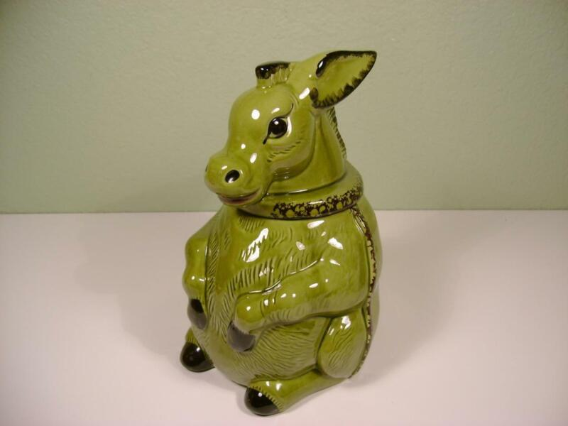 VINTAGE GREEN DONKEY CERAMIC COOKIE JAR DORANNE OF CALIFORNIA