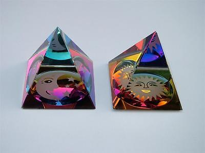 MOON & STARS and SUN PYRAMID COLOURED CUT GLASS CRYSTAL ORNAMENT