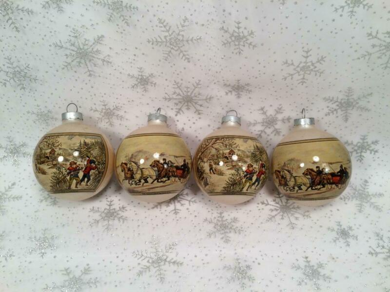 RAUCH 4 CURRIER & IVES GLASS CHRISTMAS ORNAMENTS CHRISTMAS SNOW & SLEIGH RACE