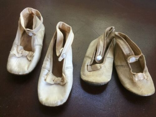 2 pair antique vintage off-white leather baby or doll shoes lot