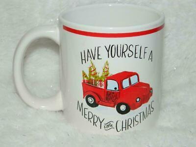 Red Truck Xmas Tree Coffee Mug Cocoa Tea Drink Ceramic Cup Rustic Farm Country