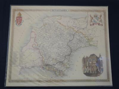 Reproduction Antique Map of Devonshire 16 x 20 inches.