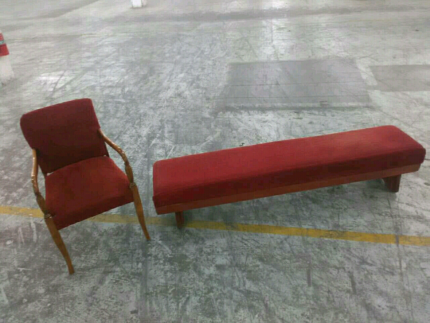 Red bench seat and armchair