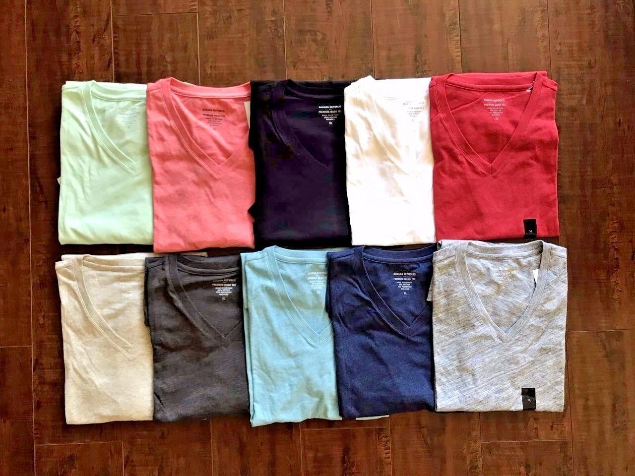 Banana Republic Men's Short Sleeve V Neck Tee Vee Premium-Wash T-Shirt S M L XL