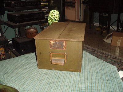 Vintage Art Metal Casket Top Load Army Green Steel File Card Box W Patina