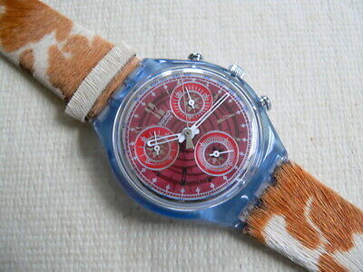 1994 Swiss Swatch Watch Chronograph Fury Leather band, New