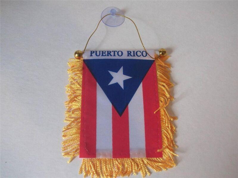Puerto Rico Mini Banner 4 x 6 Flag Car Window Hanger Rear View PR Rican Boricua