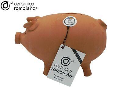 CR | Hucha Cerdito de Barro | Hucha Infantil | 100% Hecho a Mano | 22x13x15 cm