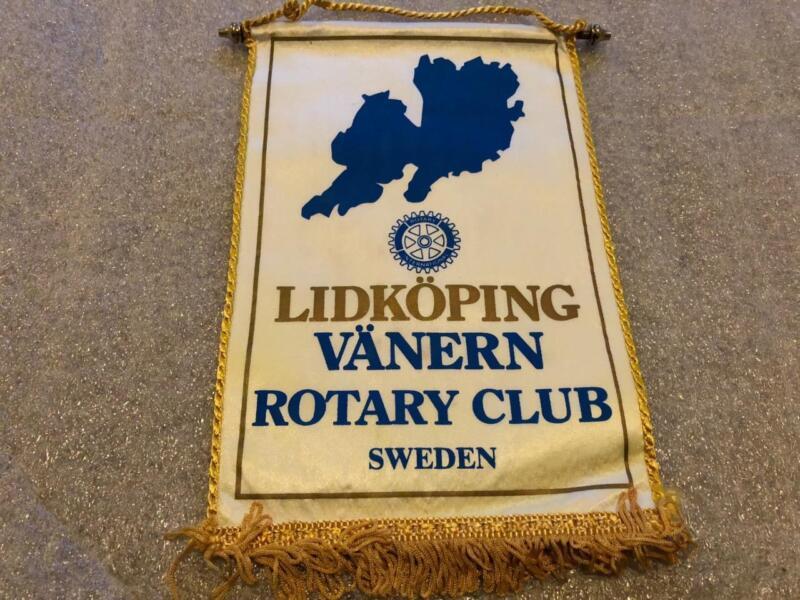 Vintage Rotary Club International Small Hanging Banner Lidkoping Vanern Sweden