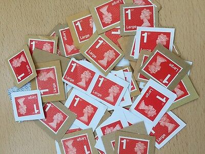 50 x UK Royal Mail Large Red Unfranked Stamps On Paper